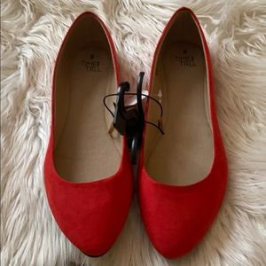 Red flat suede shoes new